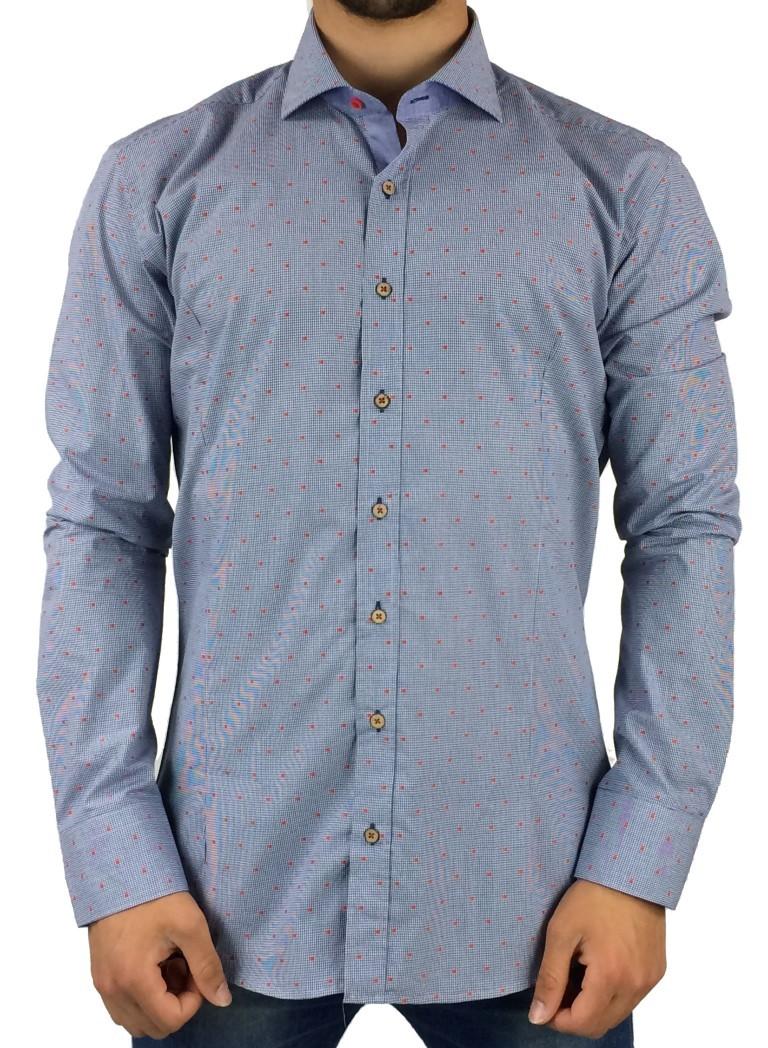 Firenze λεπτό πτι-καρο πουκάμισο 015-2910B (Μπλε) db98f443a66
