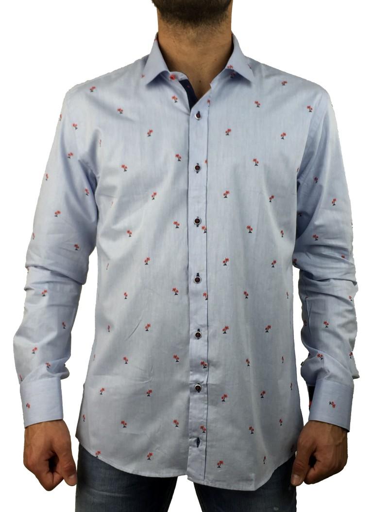 Firenze σιελ πουκάμισο με σχέδια 016 5902D