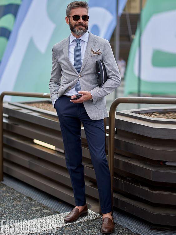 Ανδρικά ρούχα για γάμο, μπλε παντελόνι με μπεζ σακάκι