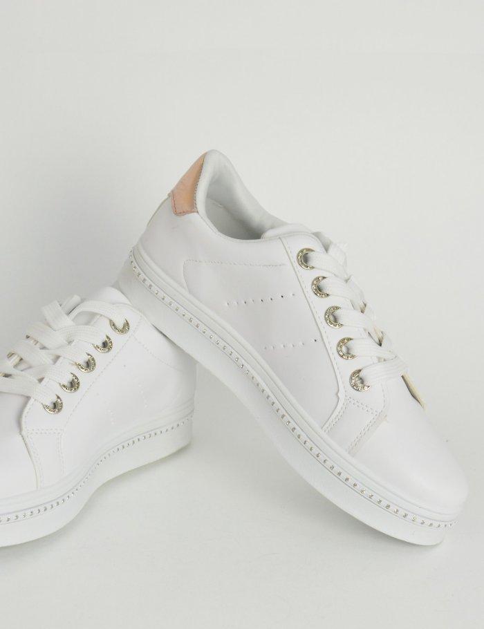 Λευκά γυναικεία sneakers με χρυσό σχέδιο και στρας