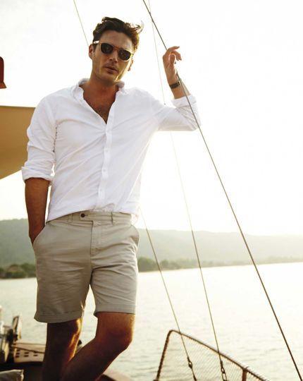 Λευκό ανδρικό πουκάμισο με κοντό γιακά