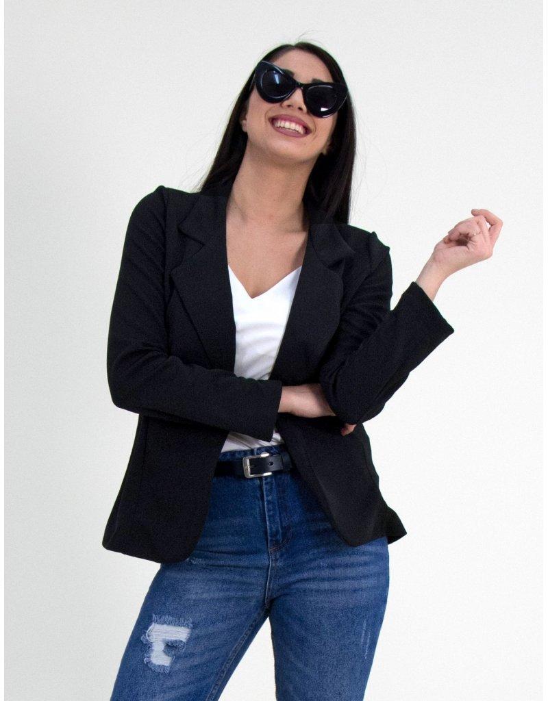Γυναικειο μαύρο σακάκι χωρίς κούμπωμα