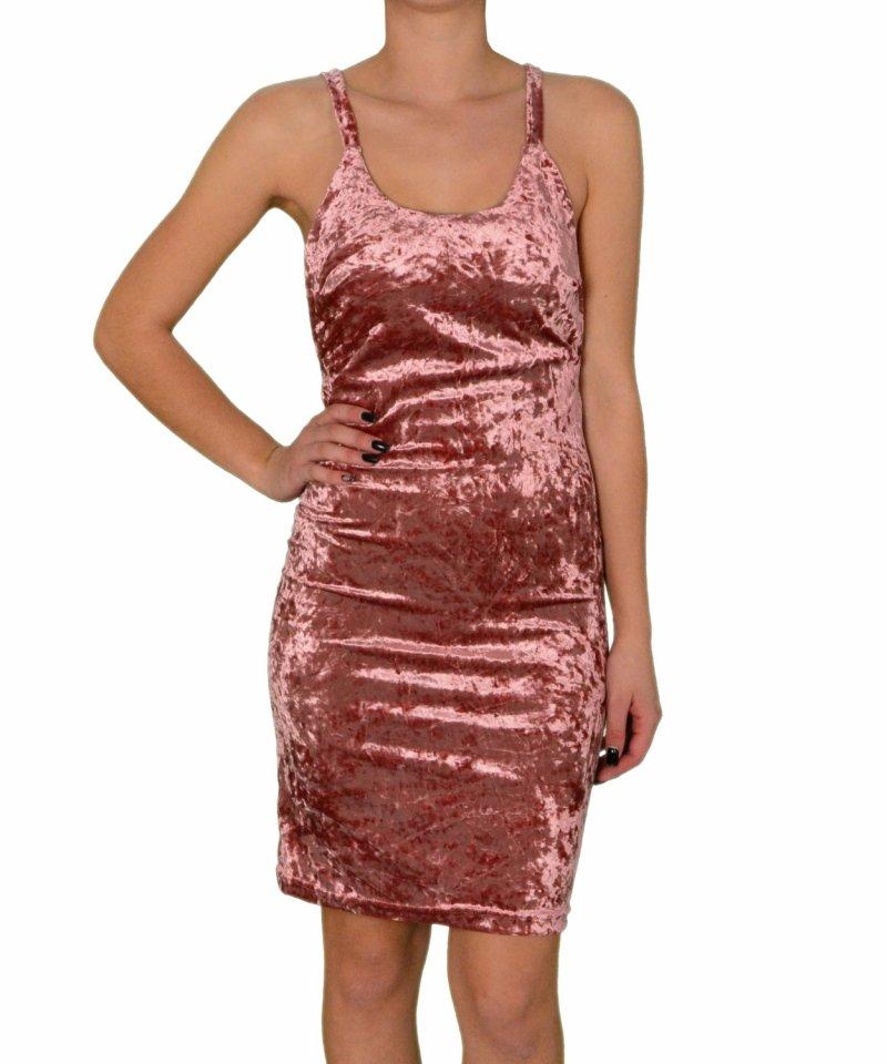 Ροζ velvet φόρεμα με ράντες