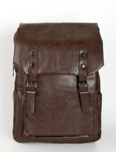Ανδρικό καφέ δερματίνη σακίδιο πλάτης με τσέπη S900R