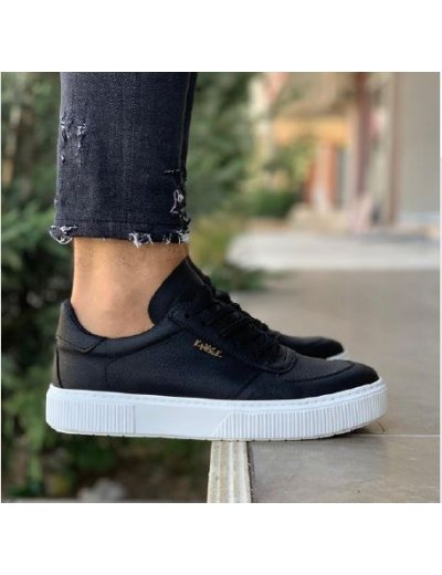 Ανδρικά μαύρα Casual Sneakers με κορδόνια 0402020