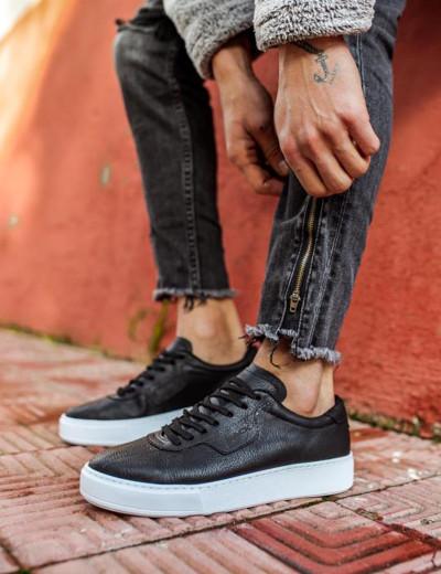 Ανδρικά μαύρα Casual Sneakers με κορδόνια 0602020