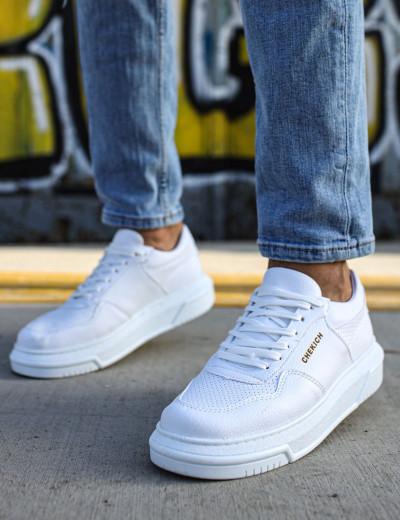 Ανδρικά λευκά δίσολα Sneakers CH075A