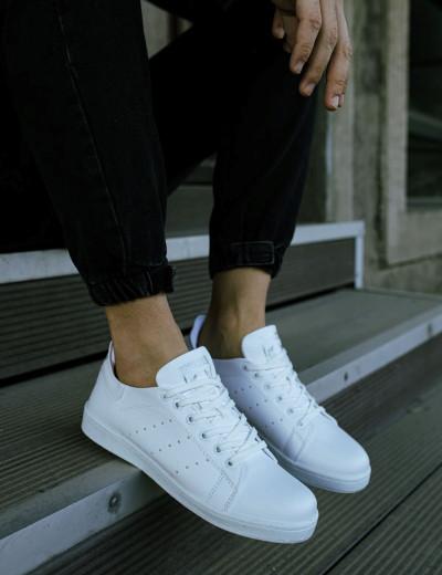 Ανδρικά λευκά Sneakers λαστιχένια σόλα CH977A