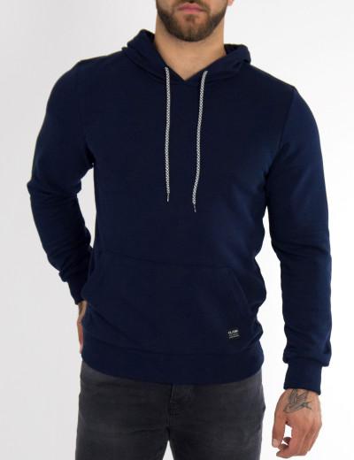 Ανδρικό μπλε βαμβακερό φούτερ με κουκούλα CL5401L