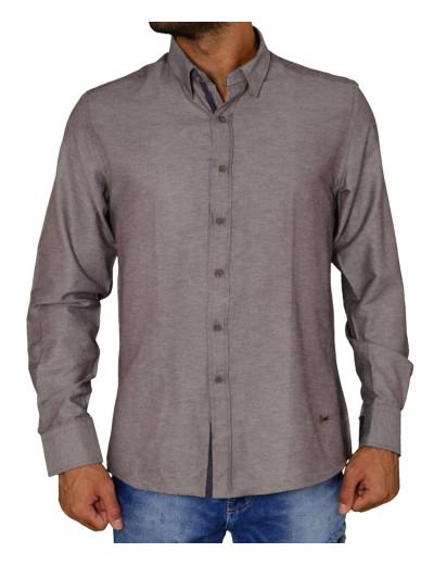 Ανδρικό πουκάμισο υφασμάτινο μονόχρωμο καφέ Ben Tailor 21916F