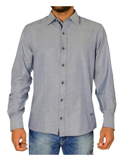 Ανδρικό πουκάμισο υφασμάτινο μονόχρωμο μπλε Ben Tailor 21916