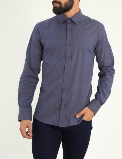 Ανδρικό μπλε πουκάμισο με ταμπά διχρωμία Ben Tailor 0088