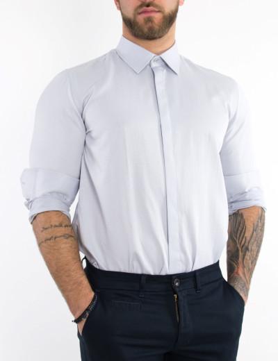 Ανδρικό γκρι μονόχρωμο πουκάμισο Regular Fit 8235