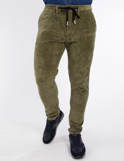 Ανδρικό χακί κοτλέ παντελόνι ελαστικό Bread & Buttons 8965L