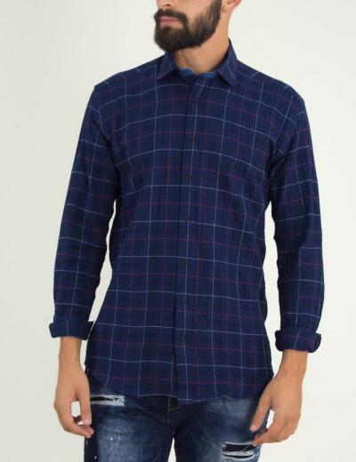 Ανδρικό μπλέ καρό πουκάμισο Firenze 0191119