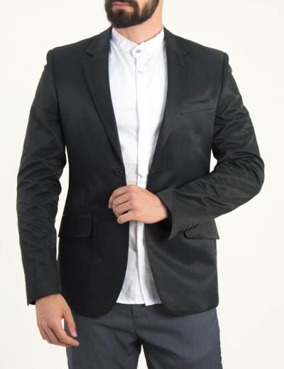 Ανδρικό μαύρο σακάκι μονόχρωμο 4027