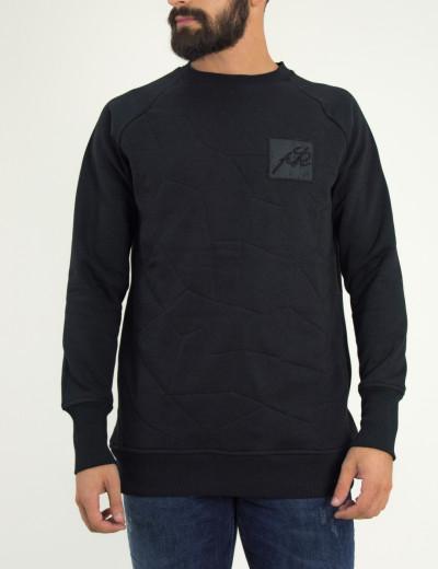 Ανδρικό μαύρο φούτερ με ρεγκλάν σχέδιο στο στήθος Ponte Rosso 182046