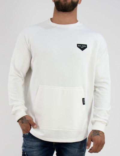 Ανδρικό λευκό βαμβακερό μονόχρωμο φούτερ Ben Tailor 2157W