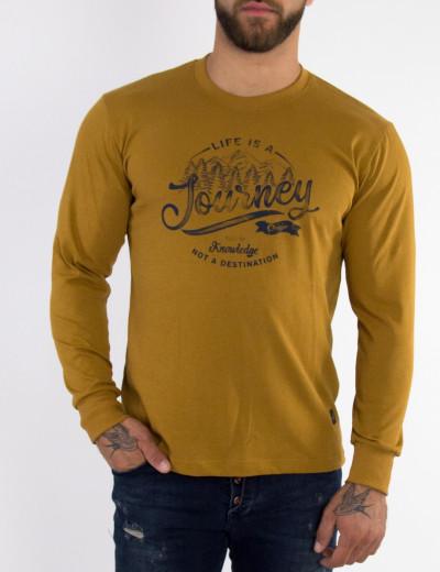 Ανδρική ώχρα μακρμάνικη Plus Size μπλούζα Origin τύπωμα OW20514Y