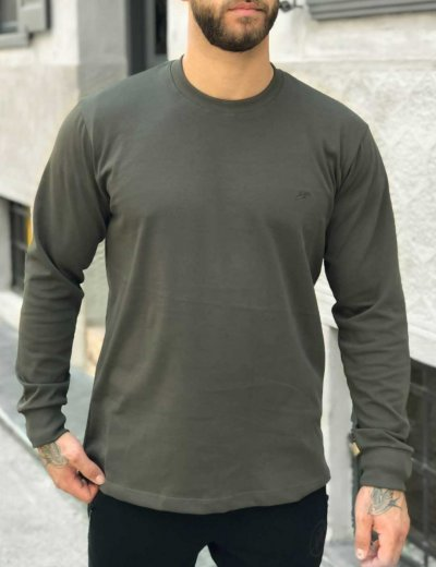 Ανδρική λαδί βαμβακερή μπλούζα Plus size Everbest 211026Y