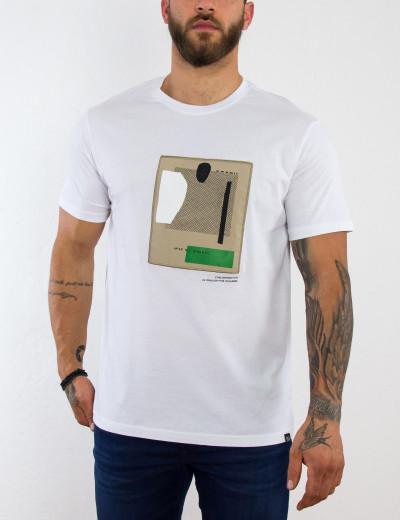 Ανδρικό λευκό κοντομάνικο Tshirt με τύπωμα 221050