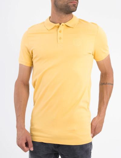 Ανδρική ώχρα βαμβακερή κοντομάνικη μπλούζα Polo 5360Q
