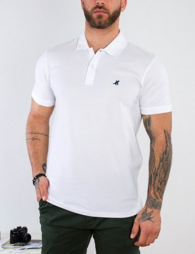 US Grant Polo Ανδρική λευκή πόλο κοντομάνικη μπλούζα USP060D