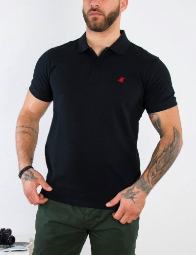 US Grand Polo Ανδρική μαύρη πόλο κοντομάνικη μπλούζα USP060E