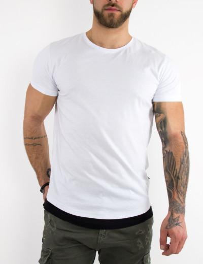 Ανδρική λευκή κοντομάνικη μπλούζα διχρωμία Madmext 4465W