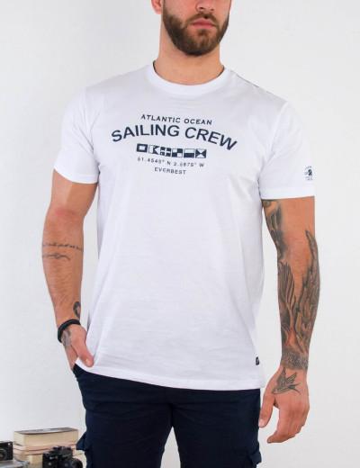 Everbest ανδρικό λευκό Plus Size Tshirt με τύπωμα 212802C