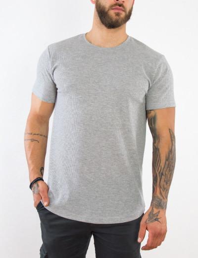 Everbest ανδρικό γκρι κοντομάνικο πικέ T-shirt 212930L
