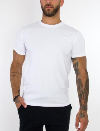 Ανδρικό λευκό basic T-shirt μονόχρωμο Everbest 20900