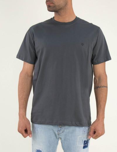 Ανδρικό γκρι Tshirt μονόχρωμο Plus size 19500F
