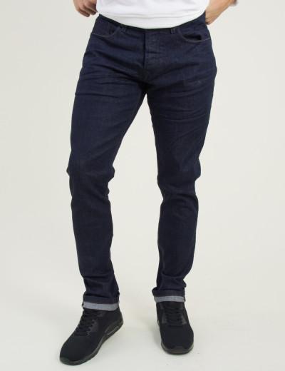 Ανδρικό μπλε τζην παντελόνι μονόχρωμο Damaged D15C