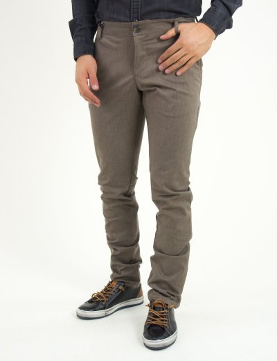Ανδρικό υφασμάτινο παντελόνι σκούρο μπέζ GioS 6708W18