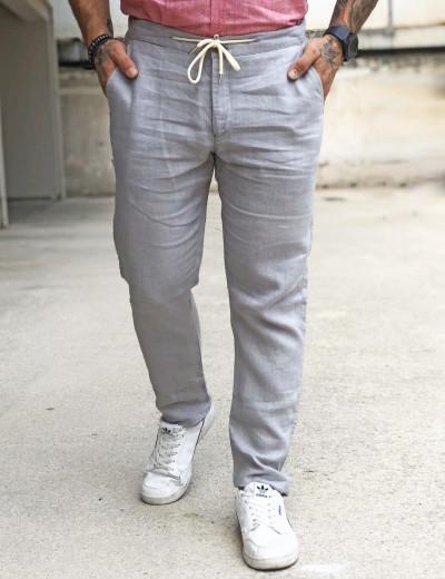 Ανδρικό γκρι υφασμάτινο παντελόνι βαμβακερό RP652