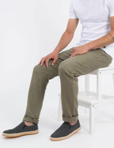 Ανδρικό χακί υφασμάτινο παντελόνι βαμβακερό RP652X