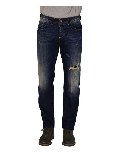 Ανδρικό τζην παντελόνι Trial μπλε ξεβάμματα φθορές Steven 585