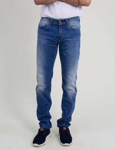 Ανδρικό τζιν παντελόνι Trial μπλε φθορές ξεβάμματα Nathan 18