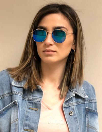 Γυναικεία πράσινα πολύγωνα γυαλιά ηλίου καθρέπτης Luxury S9038P