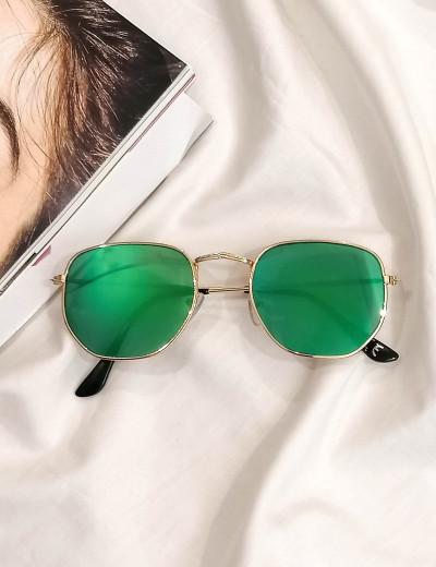 Γυναικεία πράσινο πολύγωνα γυαλιά ηλίου καθρέπτης με χρυσό σκελετό Luxury LS3065P