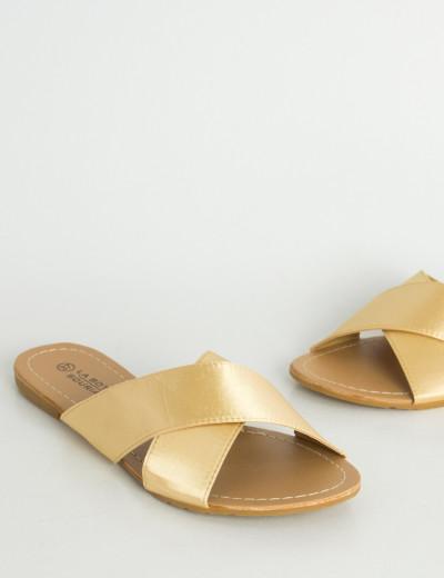Γυναικεία χρυσά φλατ σανδάλια σατέν χιαστί LBS6200R