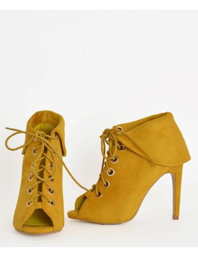 Γυναικεία ψηλά μποτάκια Peep Toe κίτρινα κορδόνια J8691