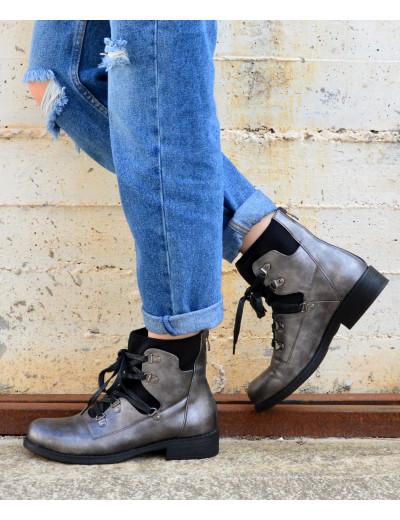 Γυναικεία χαμηλά μποτάκια με κάλτσα γκρι LBS2952