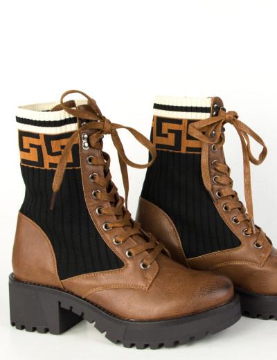 Γυναικεία καφέ τρακτερωτά αρβυλάκια κάλτσα κορδόνια KL737V