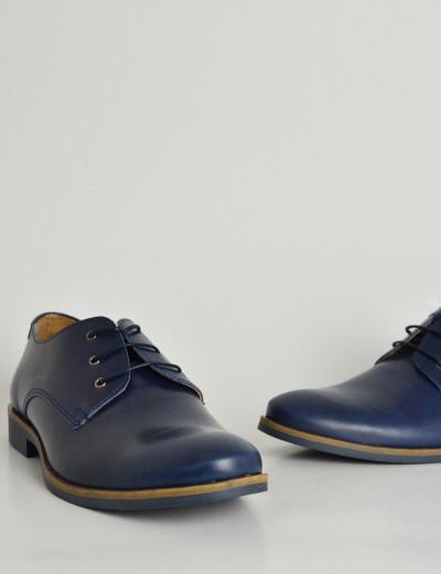 756991324b Ανδρικά δερμάτινα παπούτσια Nice Step μπλε δετά 791