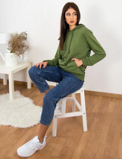 Γυναικείο χακί φούτερ αχνούδιαστο με κορδόνι 72500T