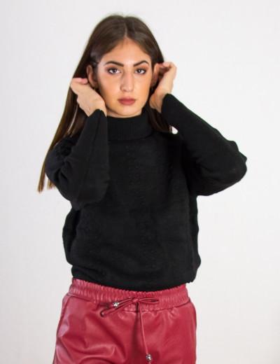 Γυναικείο μαύρο μάλλινο πουλόβερ ζιβάγκο BT18202Q