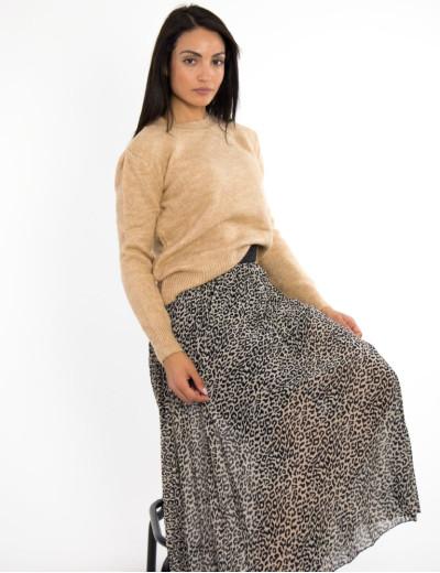 Γυναικείο μπεζ πουλόβερ μονόχρωμο BT1529
