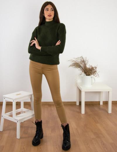Γυναικείο λαδί πλεκτό πουλόβερ BT0202